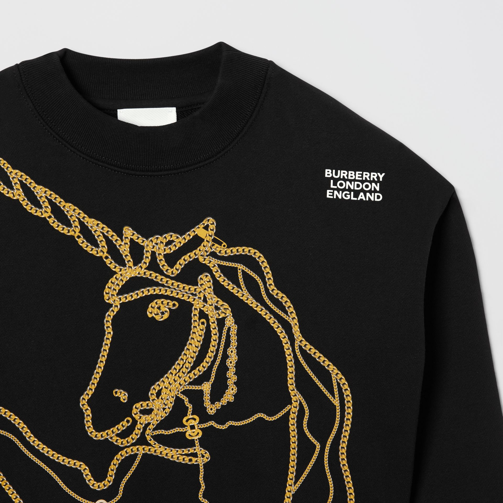 Chain Print Cotton Sweatshirt in Black | Burberry United States - gallery image 4