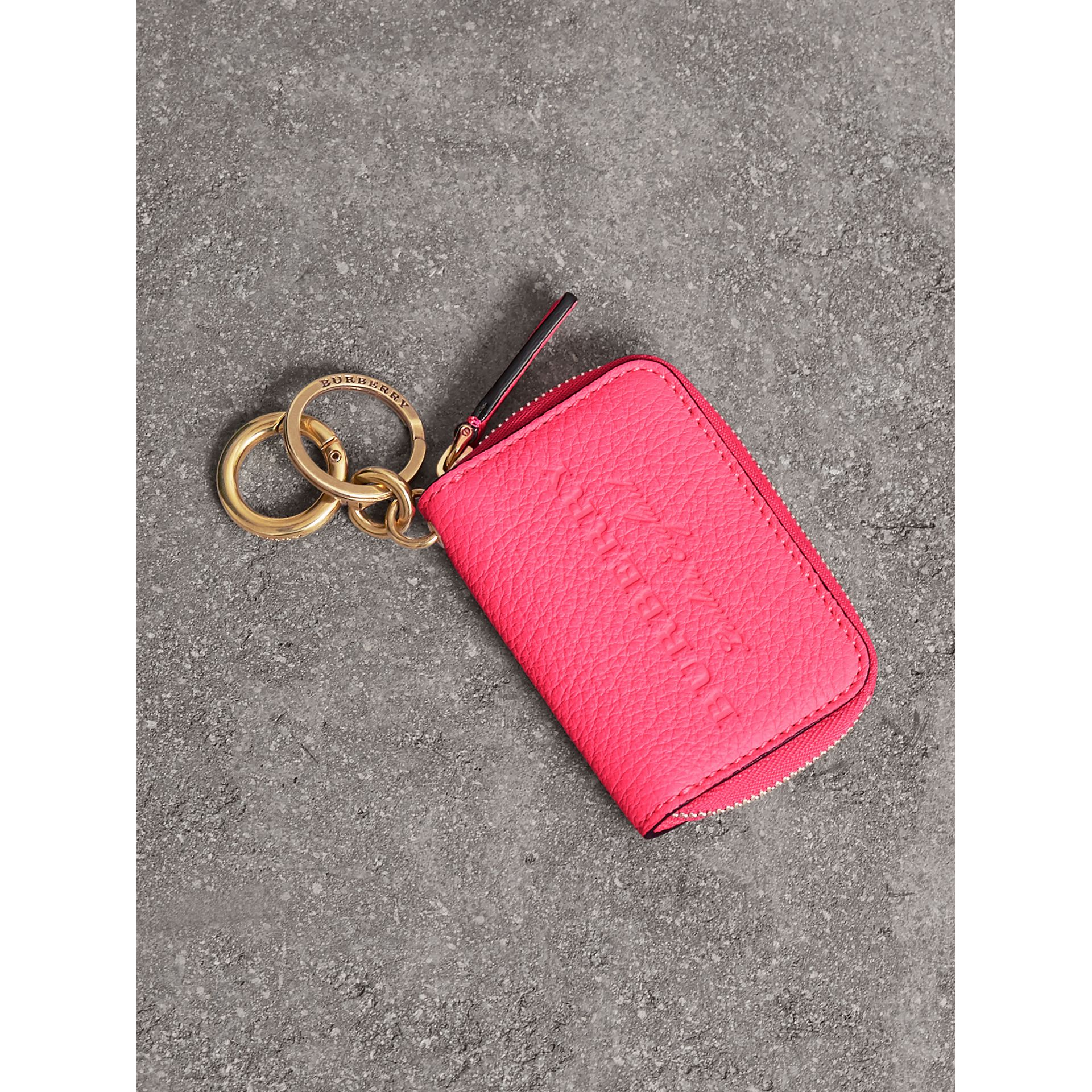 Embossed Leather Notebook Charm in Bright Pink | Burberry - gallery image 0