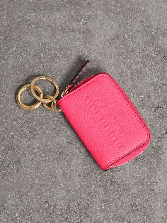 Embossed Leather Notebook Charm in Bright Pink