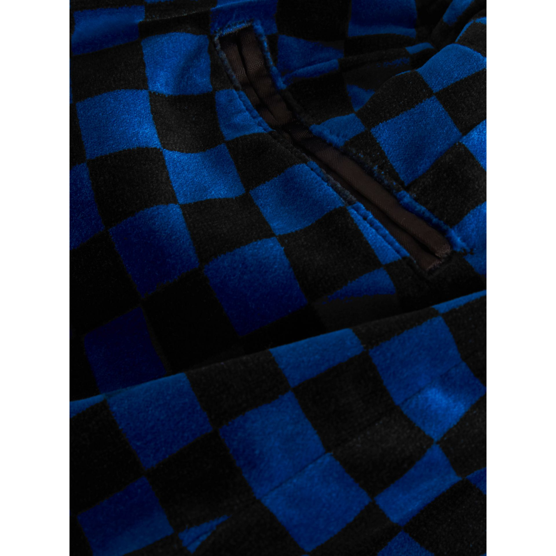 Chequer Stretch Velvet Trousers in Bright Blue | Burberry - gallery image 1