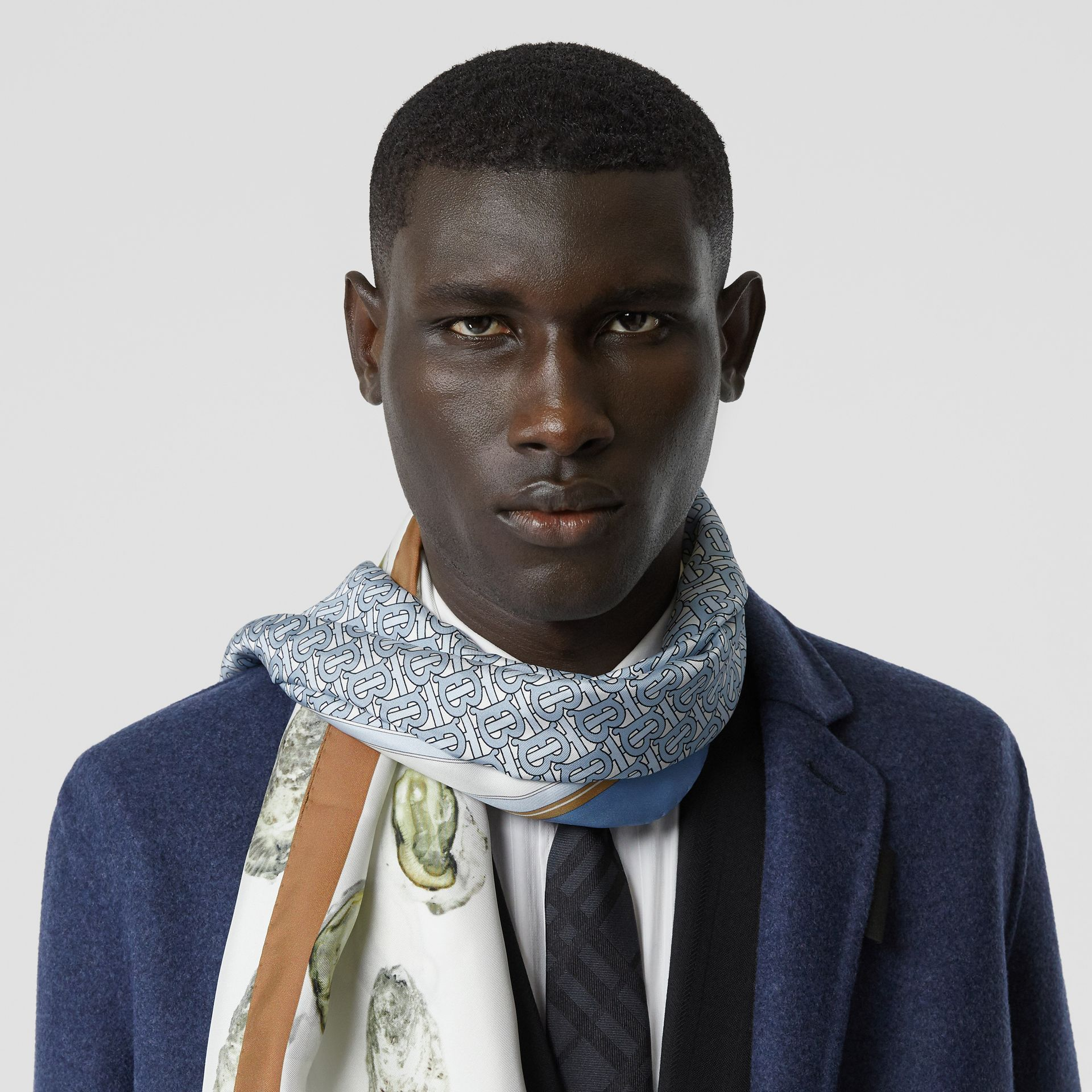 Oyster, Monogram and Mariner Print Silk Scarf in White | Burberry - gallery image 3