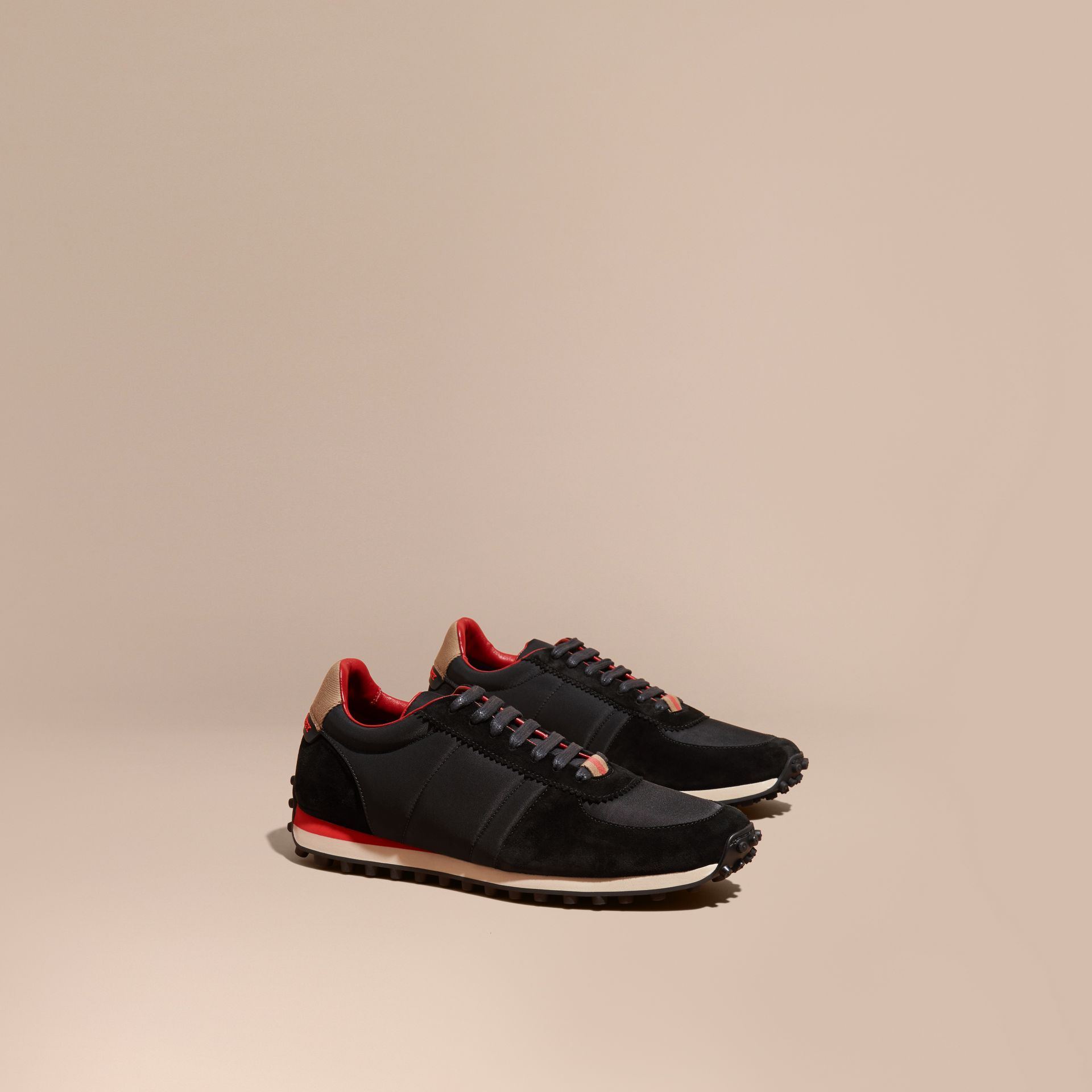Black House Check Trim Suede and Technical Satin Sneakers Black - gallery image 1