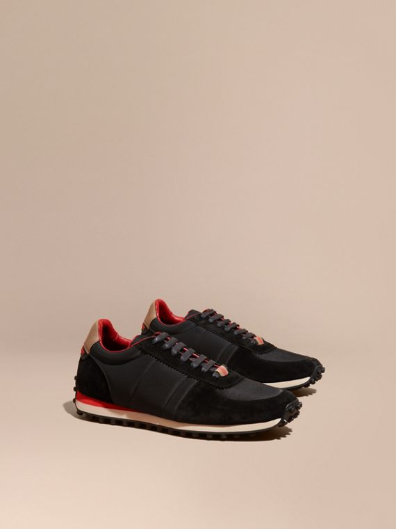 House Check Trim Suede and Technical Satin Sneakers in Black
