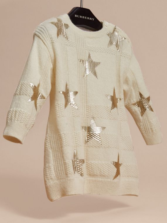 Ivory Star Print Check Cashmere Dress - cell image 2