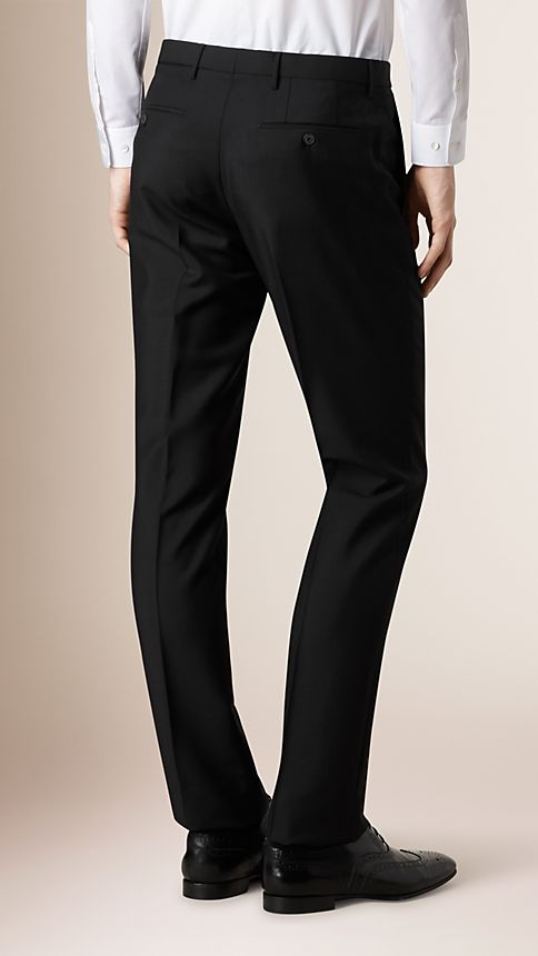 Black Modern Fit Wool Mohair Trousers - Image 2