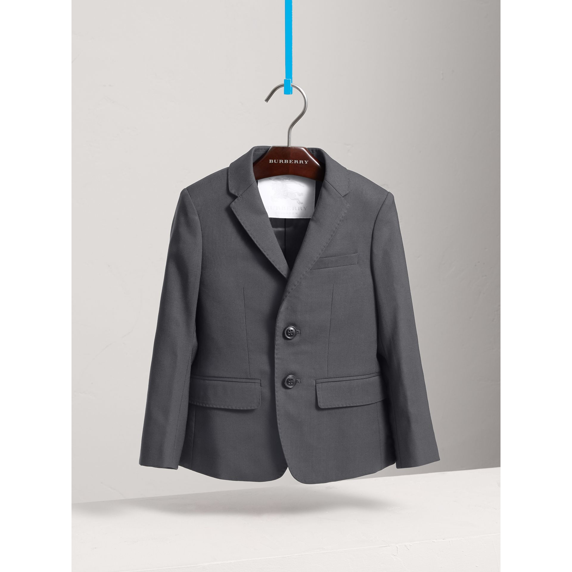Single-breasted Wool Blazer in Mid Grey Melange | Burberry - gallery image 0