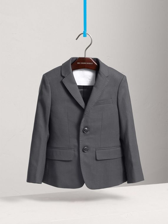 Single-breasted Wool Blazer in Mid Grey Melange
