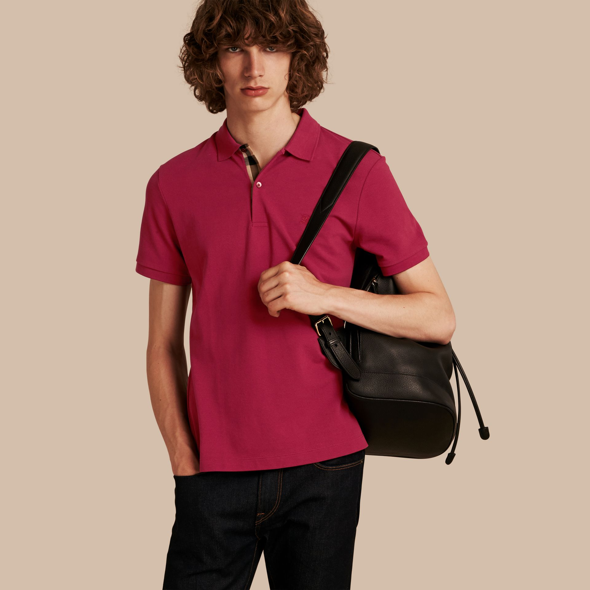 Check Placket Cotton Piqué Polo Shirt Raspberry Sorbet - gallery image 1