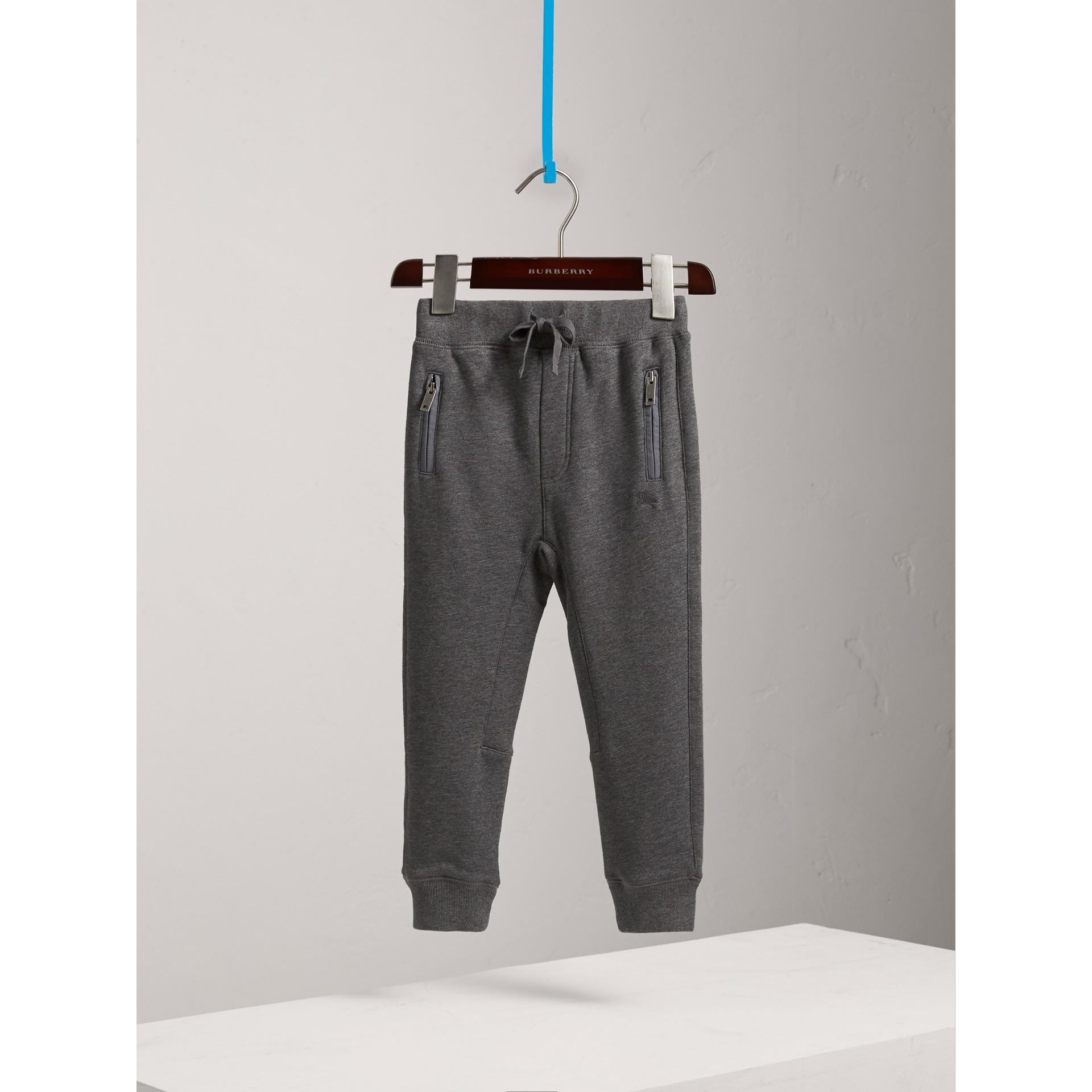 Calças de moletom de algodão com cordão de ajuste (Grafite Mesclado) | Burberry - galeria de imagens 0