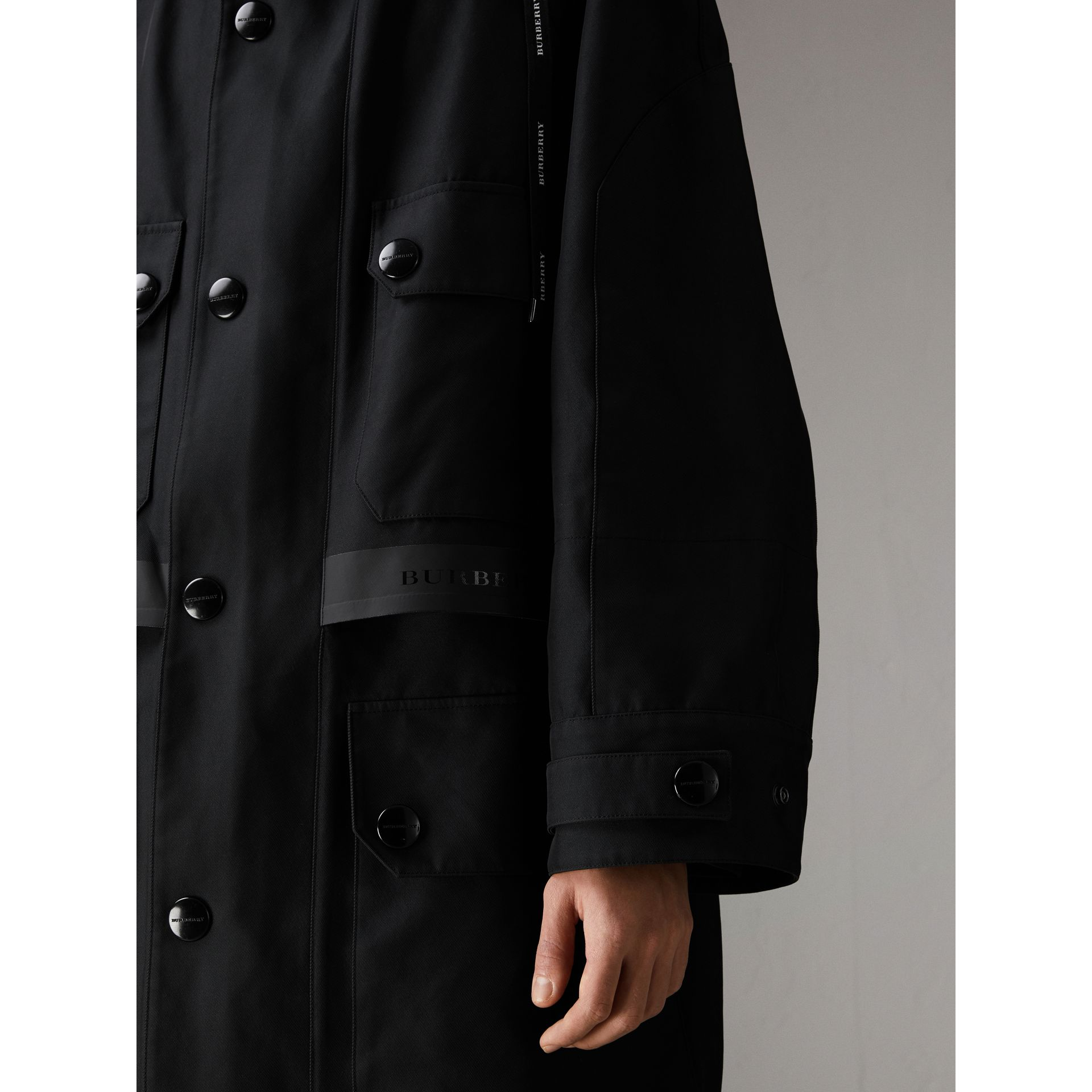 Bonded Technical and Cotton Twill Parka in Black | Burberry Australia - gallery image 5