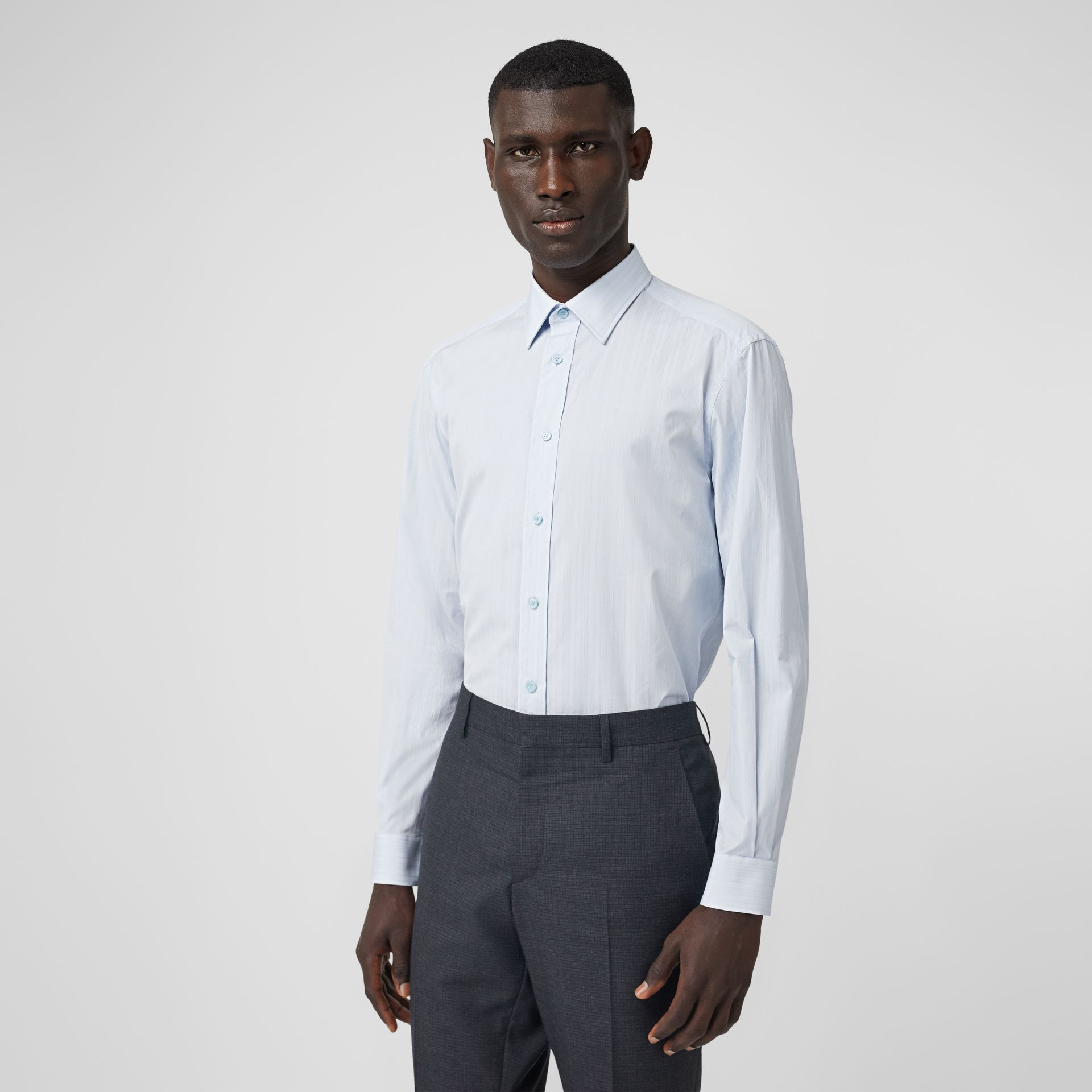 Classic Fit Striped Cotton Shirt in Pale Blue - Men | Burberry - gallery image 0