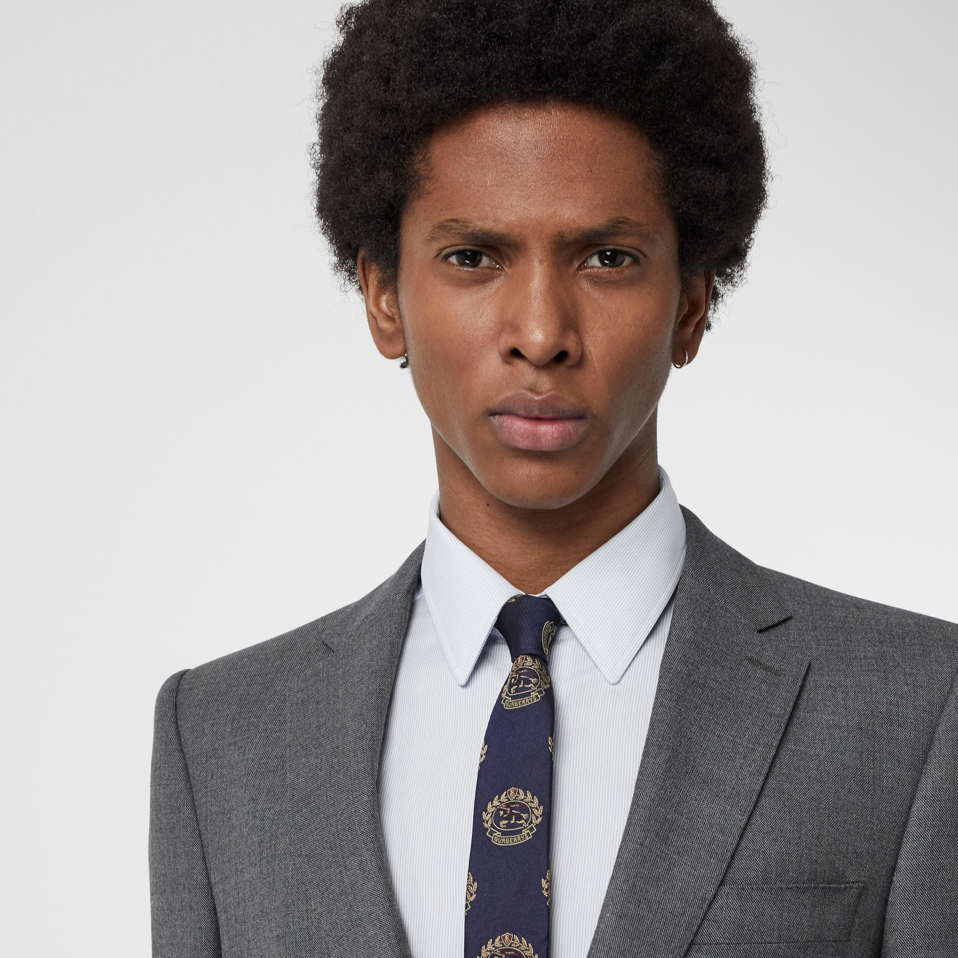 Slim Cut Archive Crest Silk Tie in Navy - Men | Burberry Singapore - gallery image 2