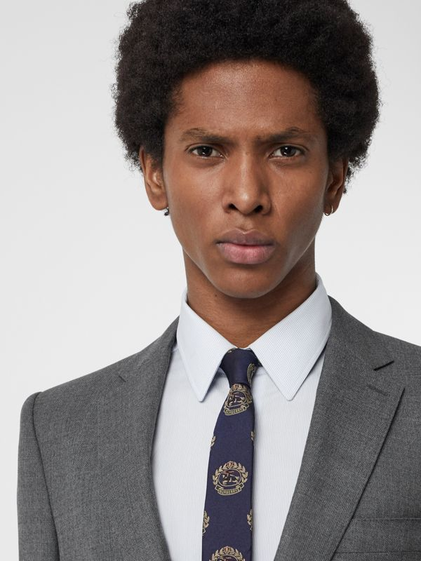 Slim Cut Archive Crest Silk Tie in Navy - Men | Burberry Singapore - cell image 2