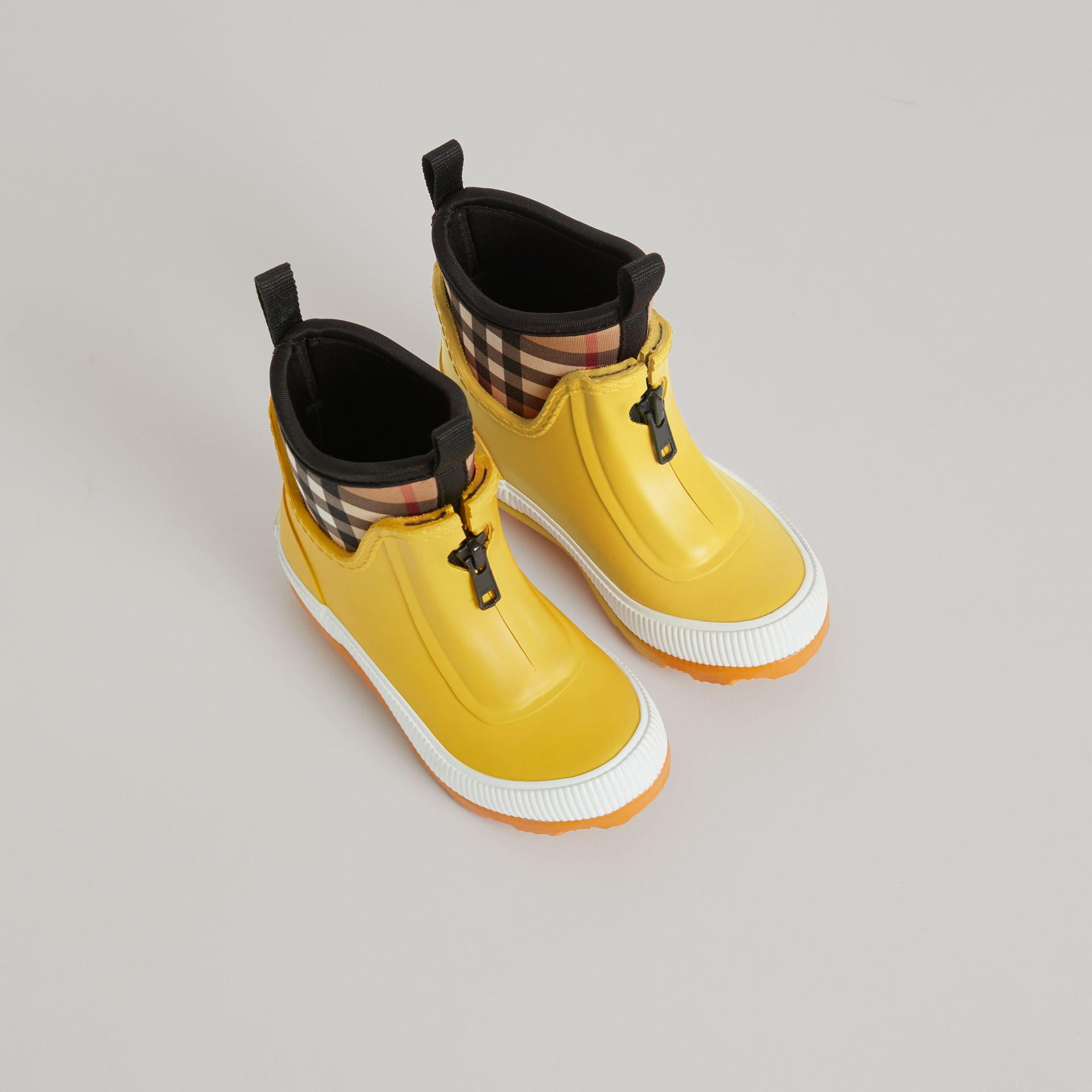 Vintage Check Neoprene and Rubber Rain Boots in Vibrant Lemon | Burberry United States - gallery image 0
