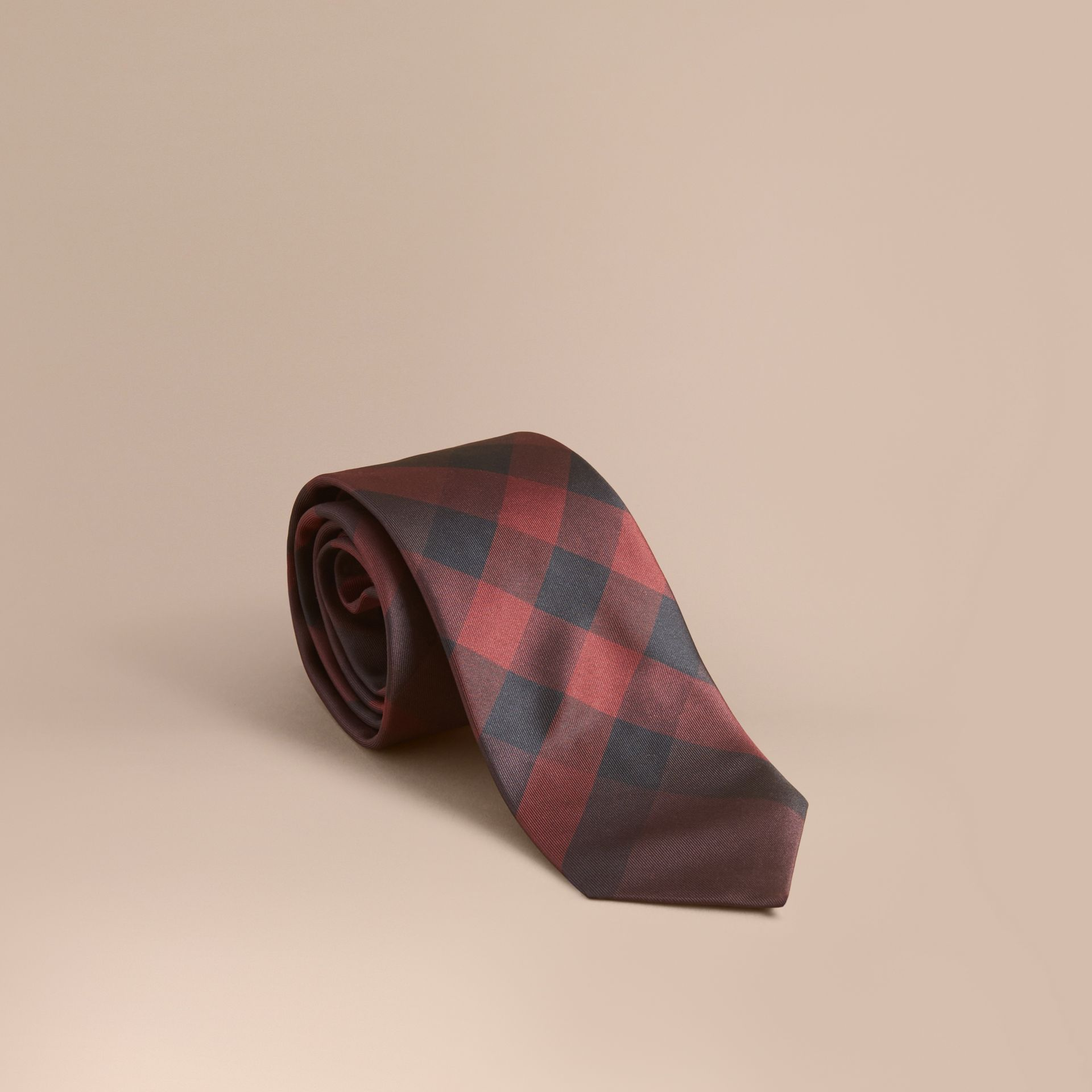Modern Cut Check Silk Tie in Deep Claret - gallery image 1