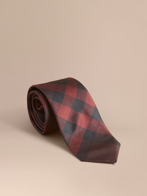 Modern Cut Check Silk Tie Deep Claret