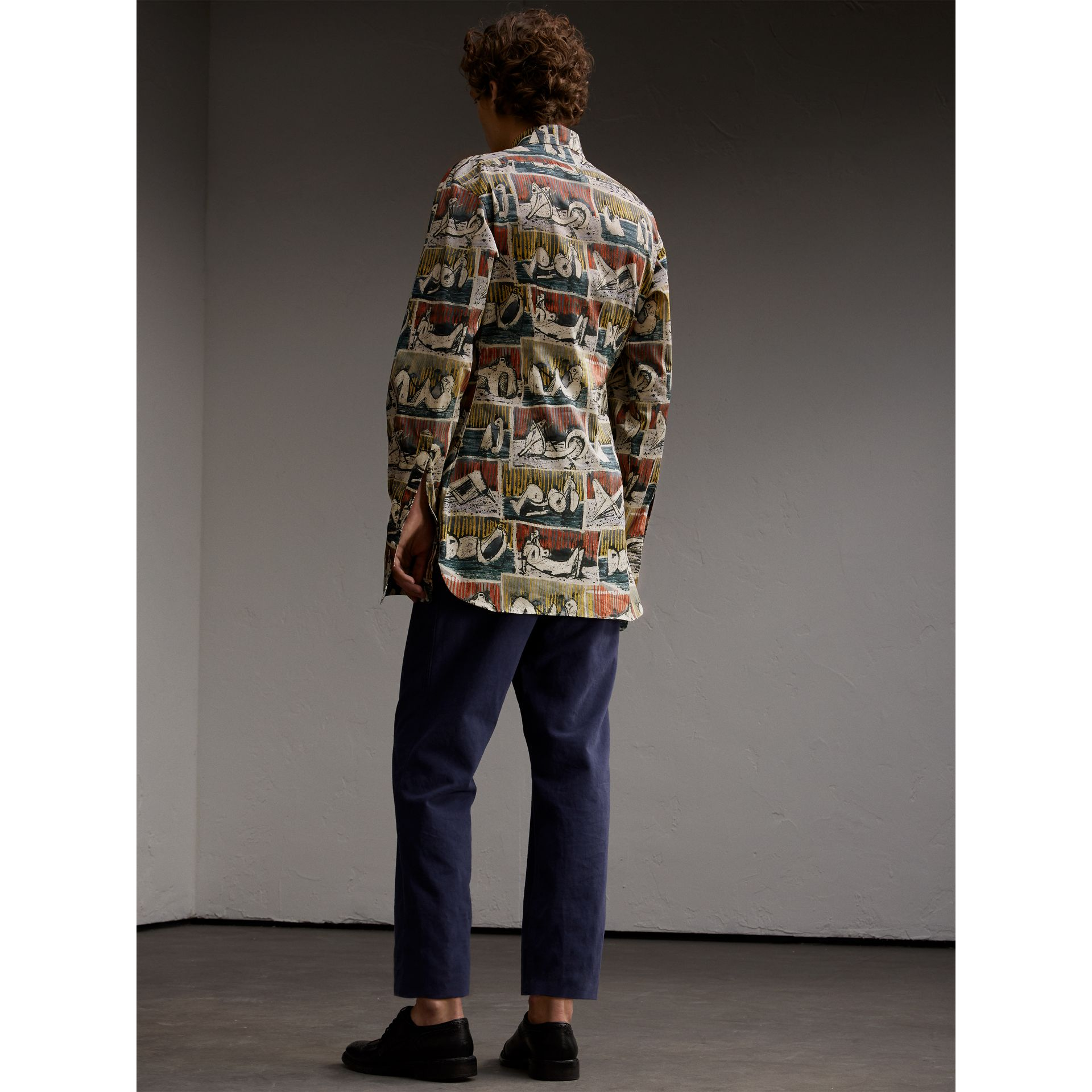 Reclining Figures Print Stretch Cotton Shirt - Men | Burberry Australia - gallery image 3