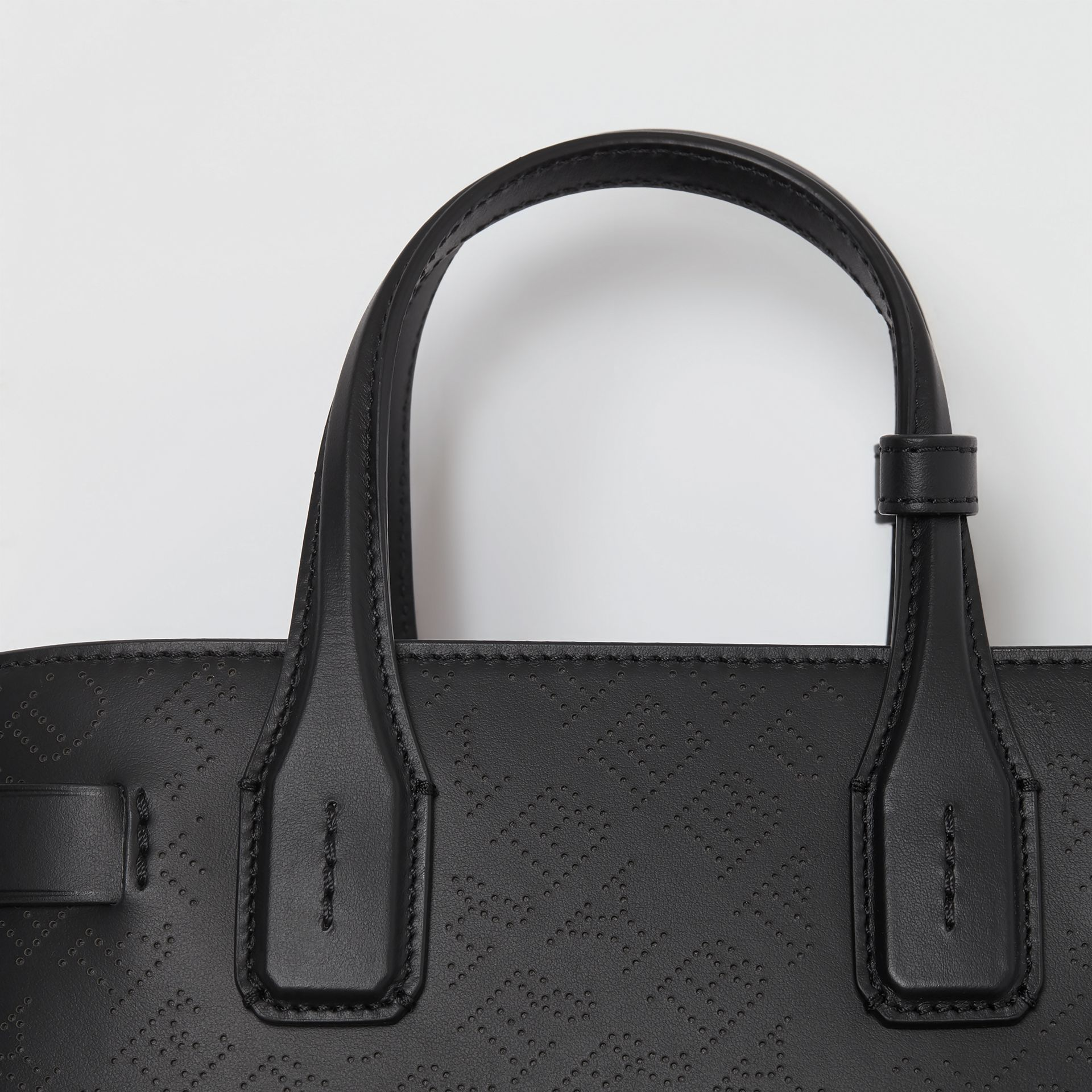 The Small Banner in Perforated Logo Leather in Black - Women | Burberry Australia - gallery image 2