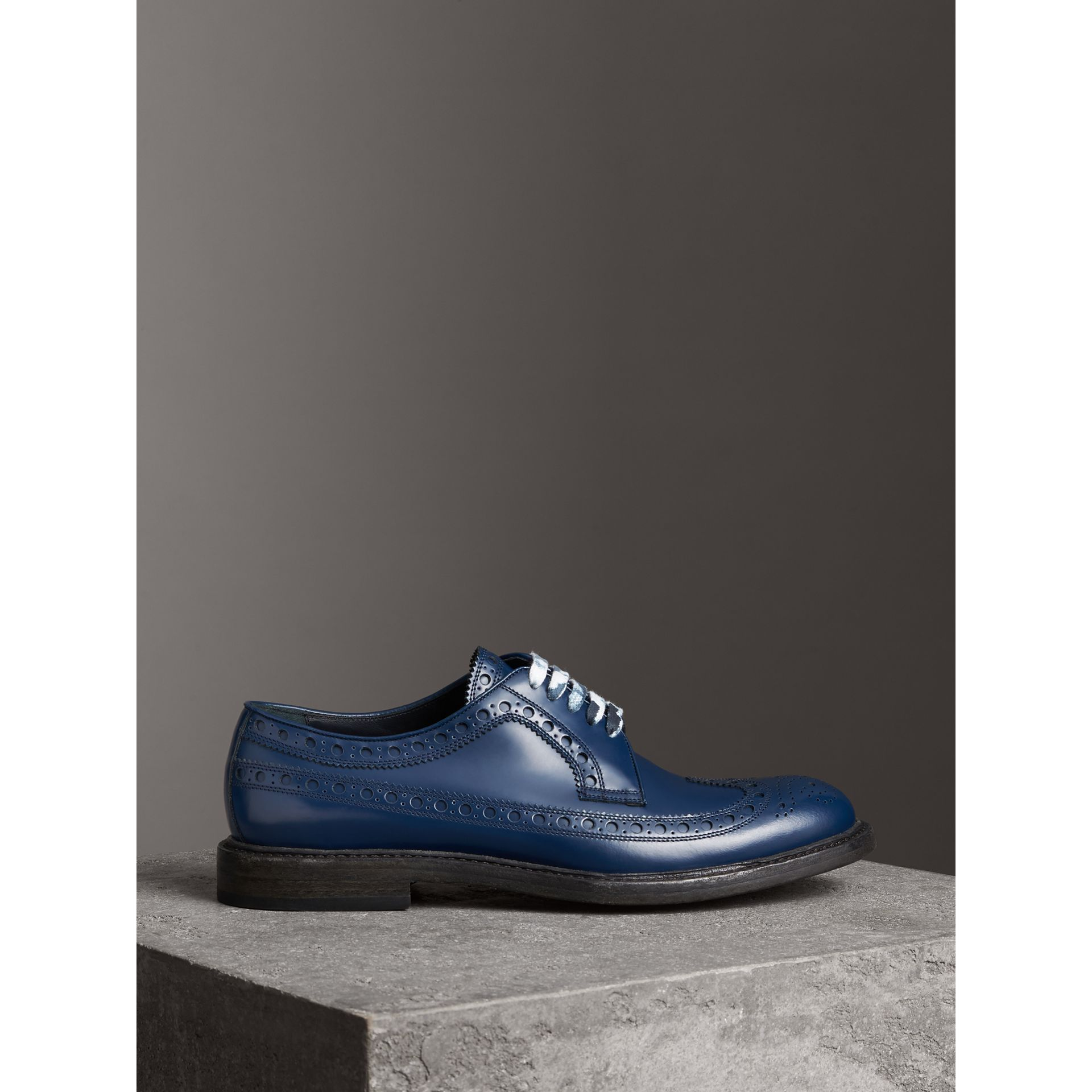 Leather Brogues with Painted Laces in Navy - Men | Burberry - gallery image 4