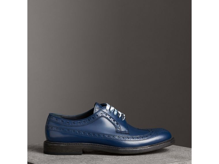 Leather Brogues with Painted Laces in Navy - Men | Burberry - cell image 4