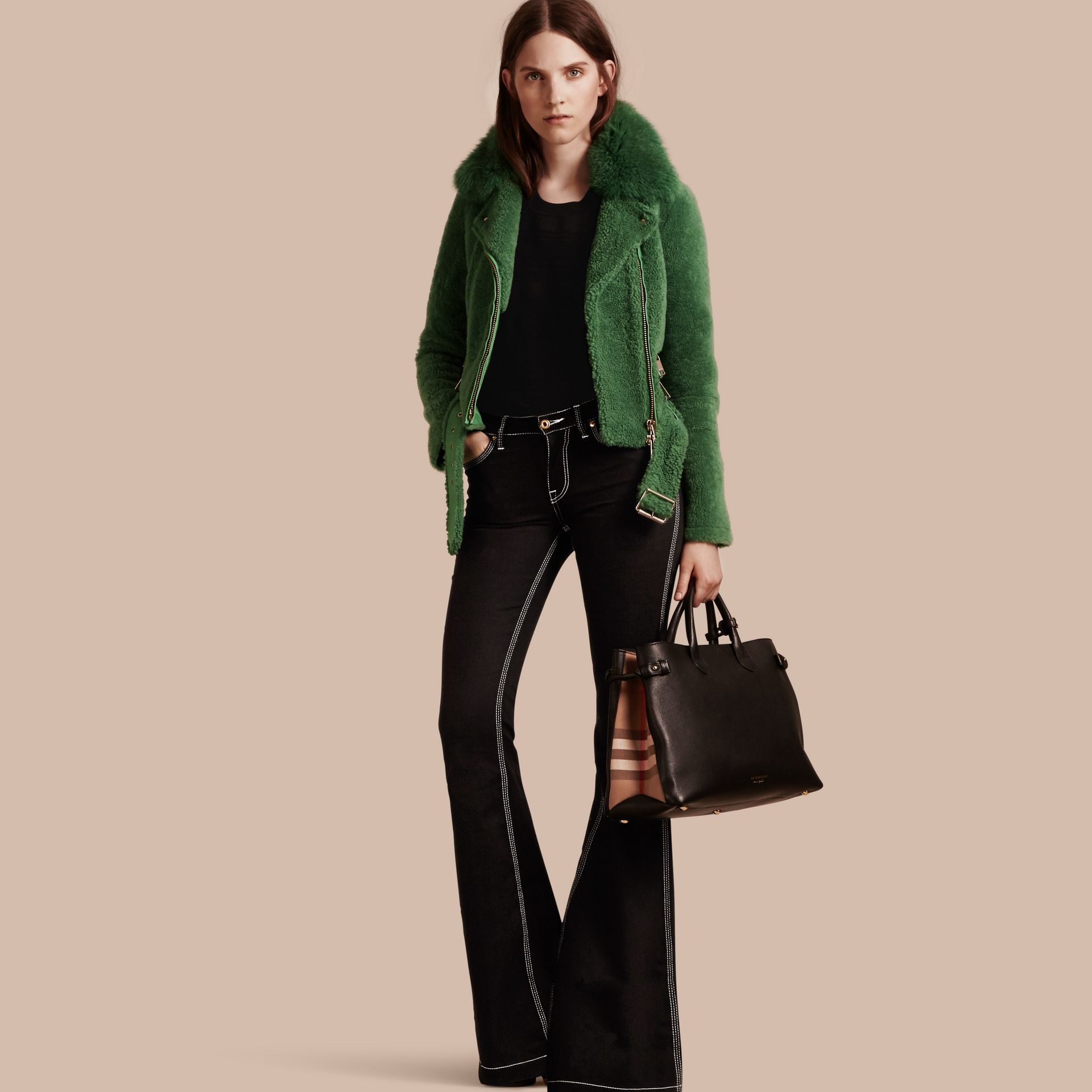 Pigment green Shearling Biker Jacket with Fox Fur Collar Pigment Green - gallery image 1