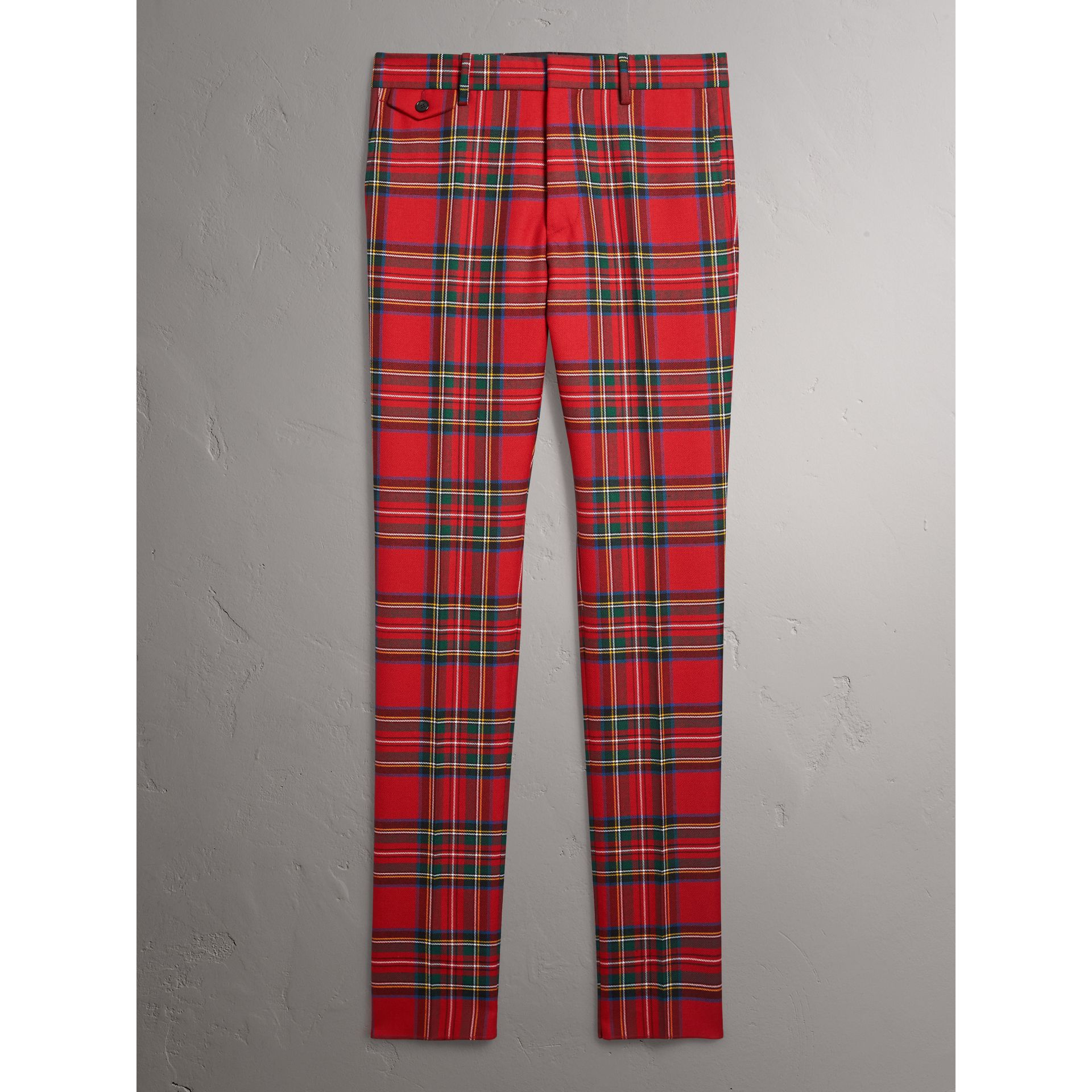 Tartan Wool Tailored Trousers in Bright Red | Burberry - gallery image 3