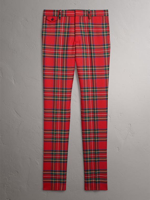 Tartan Wool Tailored Trousers in Bright Red - Men | Burberry - cell image 3