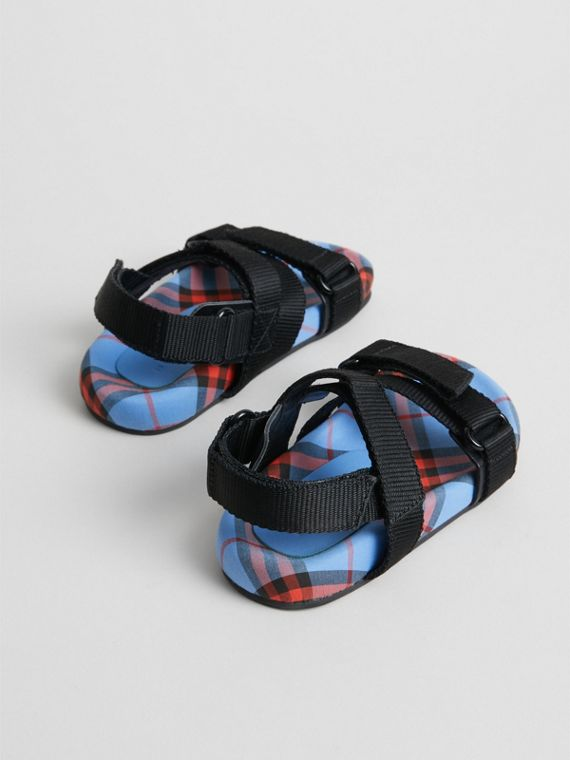 Ripstop Strap Check Cotton Sandals in Cornflower Blue | Burberry - cell image 2