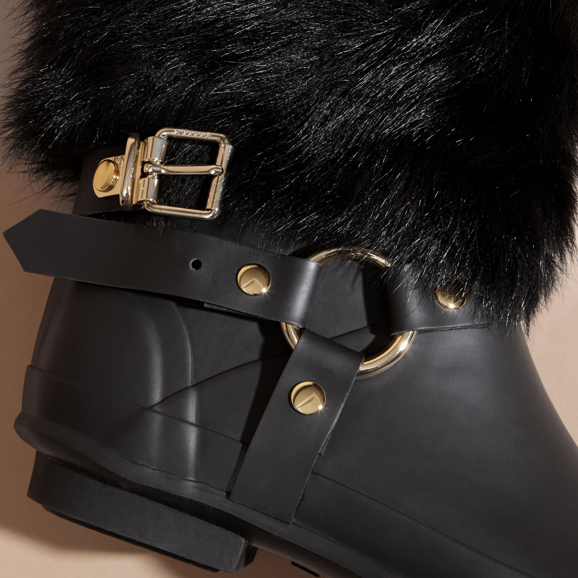 Black Belt Detail Shearling and Rubber Rain Boots - gallery image 2