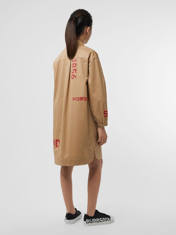 Horseferry Print Cotton Shirt Dress in Honey | Burberry - cell image 3