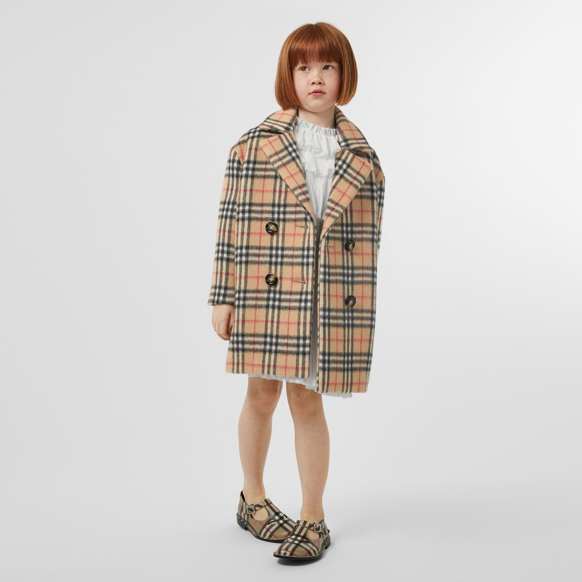 Vintage Check Alpaca Wool Blend Pea Coat in Archive Beige | Burberry - gallery image 2