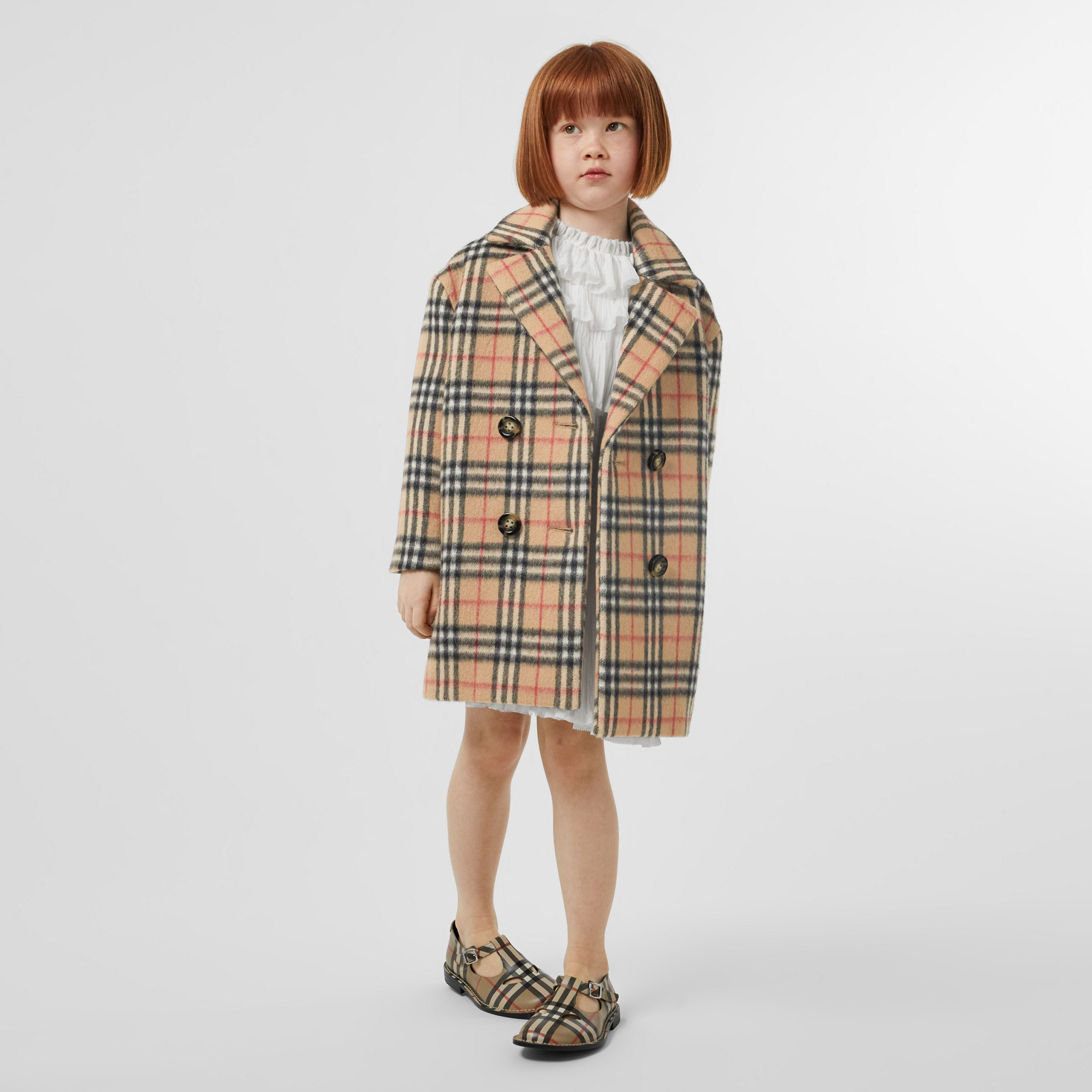 Vintage Check Alpaca Wool Blend Pea Coat in Archive Beige | Burberry - 4
