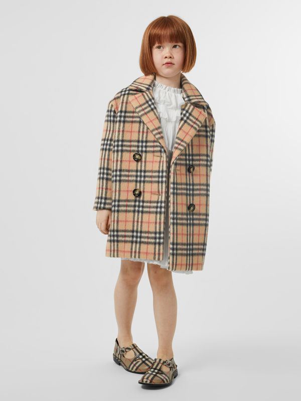 Vintage Check Alpaca Wool Blend Pea Coat in Archive Beige | Burberry - cell image 2