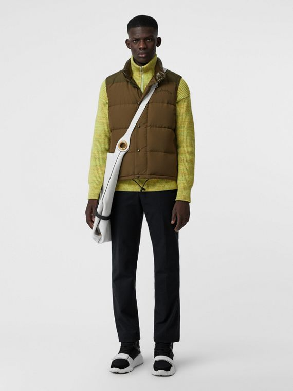 Embroidered Archive Logo Down-filled Gilet in Olive