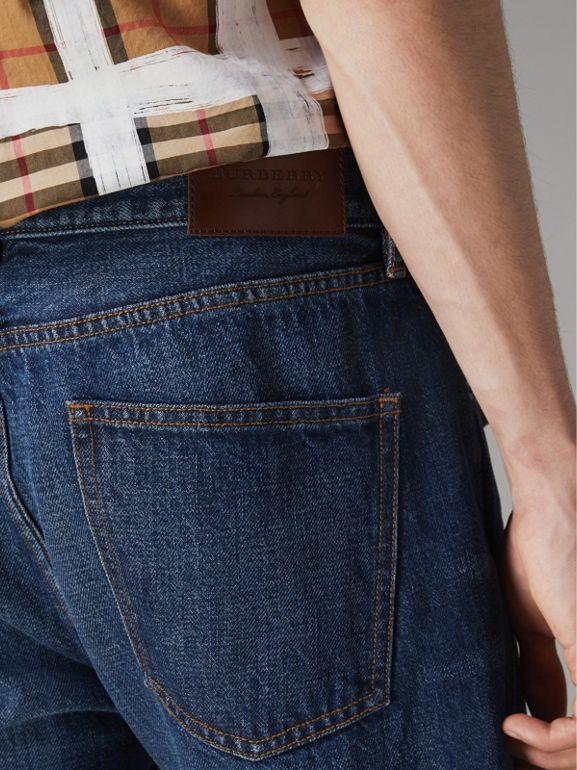 Slim Fit Bootcut Jeans in Indigo Blue - Men | Burberry - cell image 1