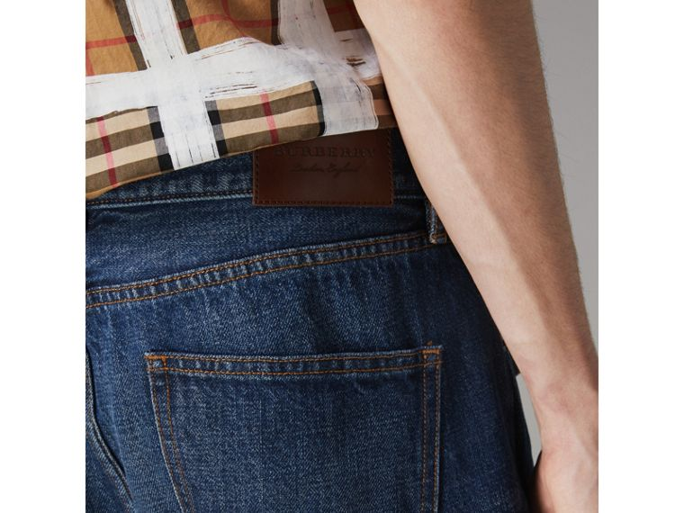 Slim Fit Bootcut Jeans in Indigo Blue - Men | Burberry United States - cell image 1