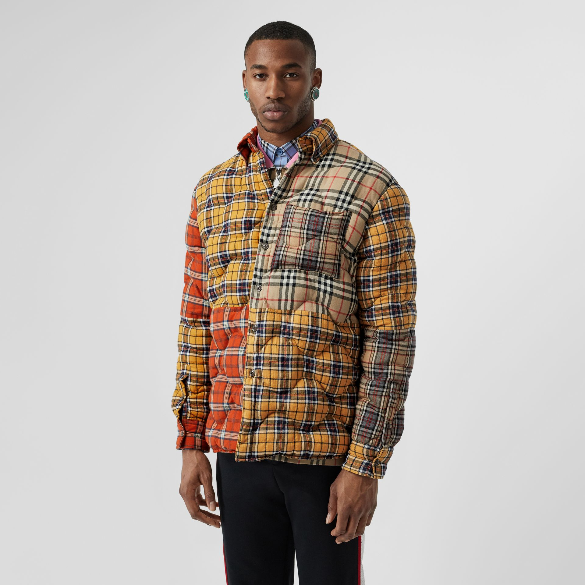 Contrast Check Cotton Flannel Puffer Overshirt in Yellow/white - Men | Burberry - gallery image 4
