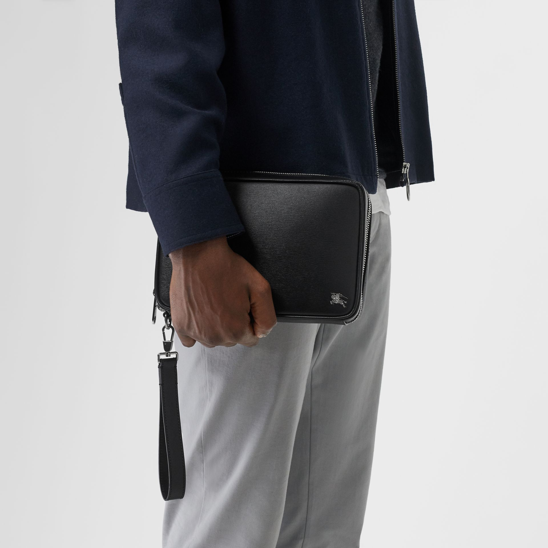 London Leather Travel Pouch in Black - Men | Burberry Singapore - gallery image 2