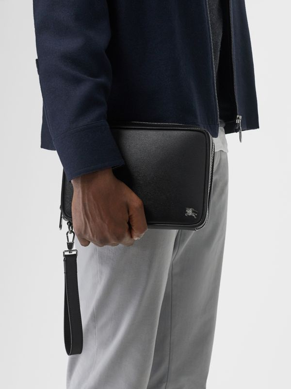 London Leather Travel Pouch in Black - Men | Burberry Singapore - cell image 2