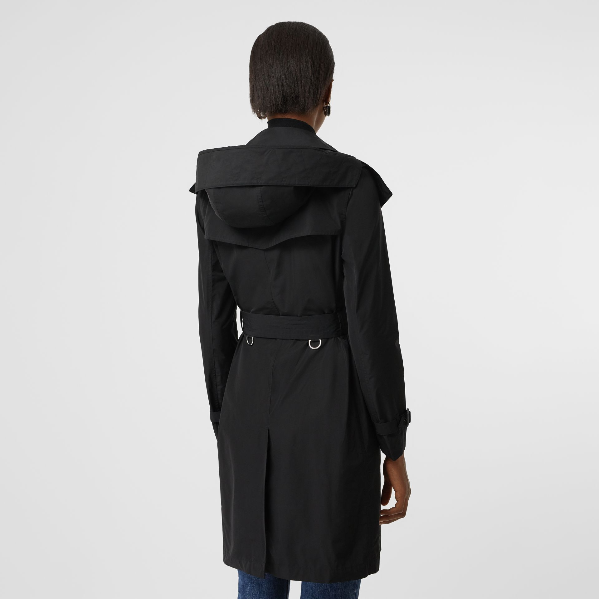 Detachable Hood Taffeta Trench Coat in Black - Women | Burberry Australia - gallery image 2