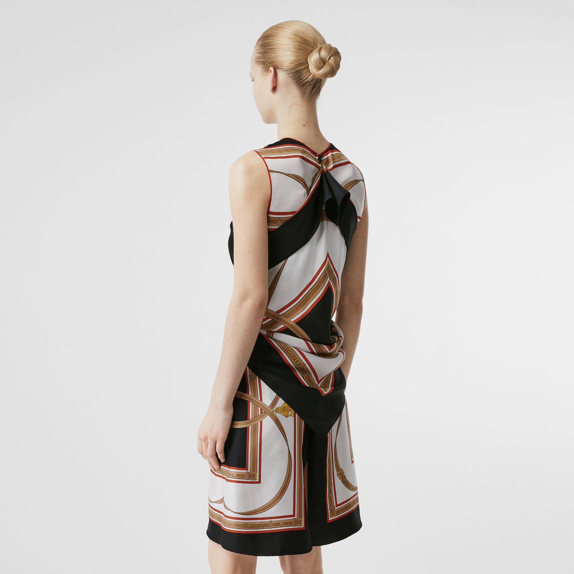 Archive Scarf Print Silk Dress with Detachable Scarf in Black - Women | Burberry - gallery image 2