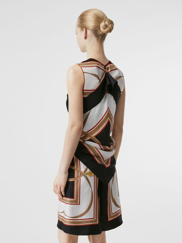 Archive Scarf Print Silk Dress with Detachable Scarf in Black - Women | Burberry - cell image 2