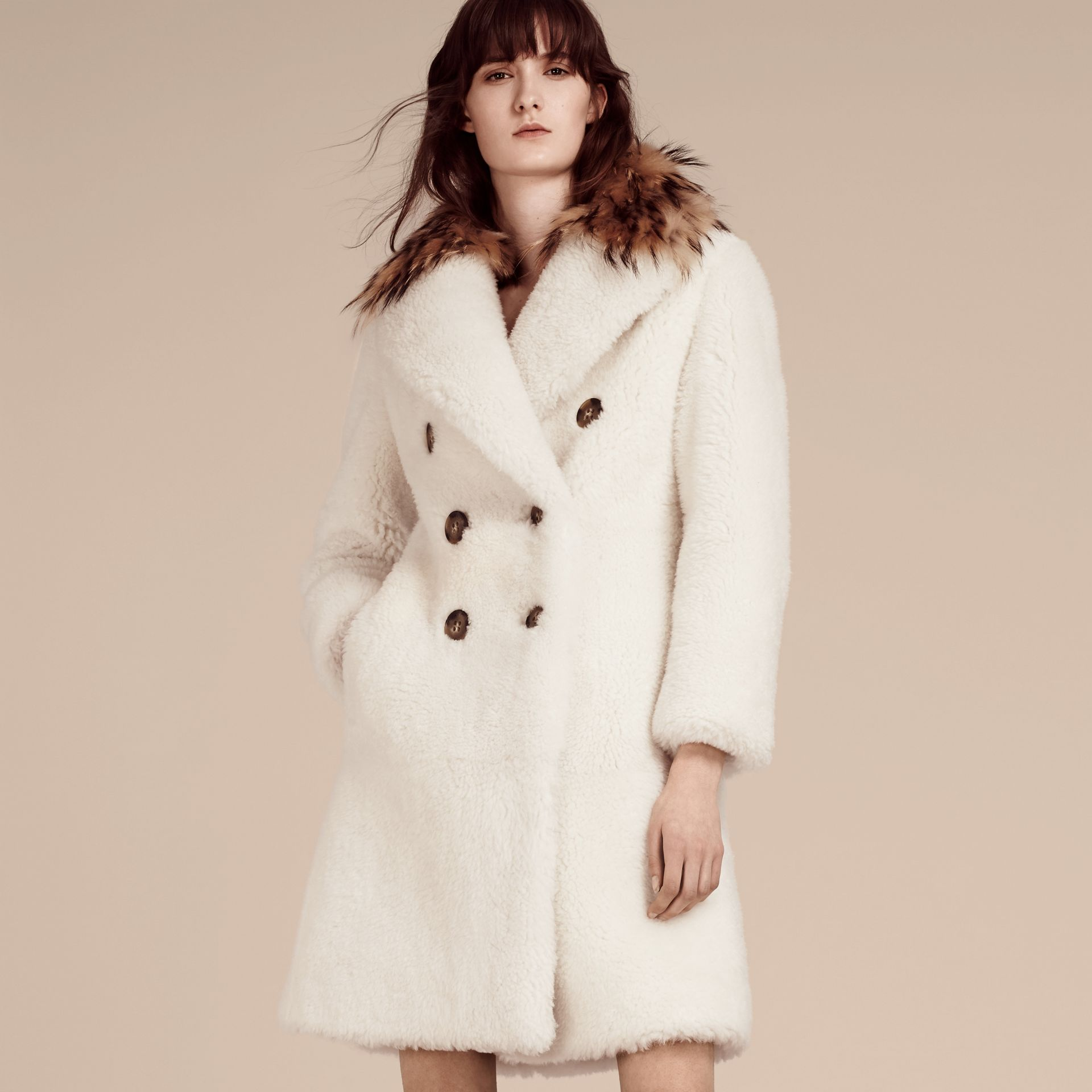 White Double-breasted Shearling Coat - gallery image 1
