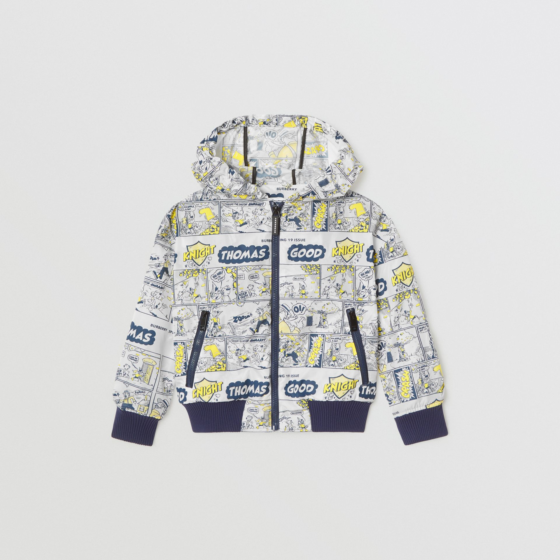 Comic Strip Print Lightweight Hooded Jacket in Citron | Burberry United Kingdom - gallery image 0