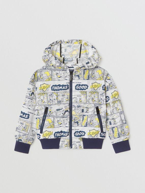 Comic Strip Print Lightweight Hooded Jacket in Citron