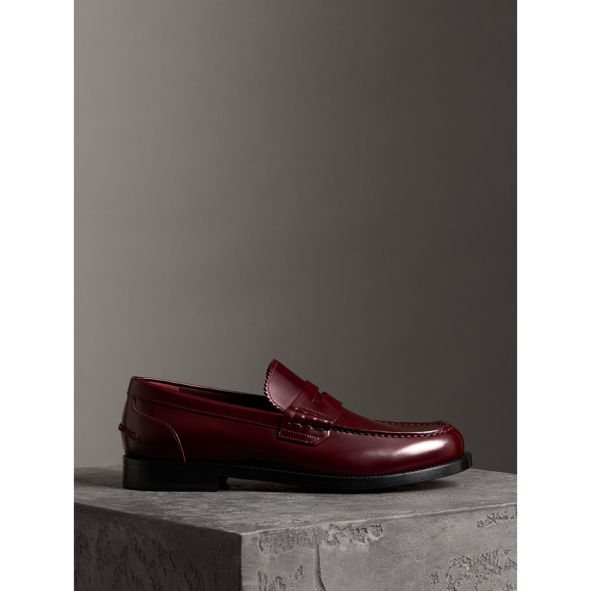 Leather Penny Loafers in Ebony Red - Men | Burberry - gallery image 3