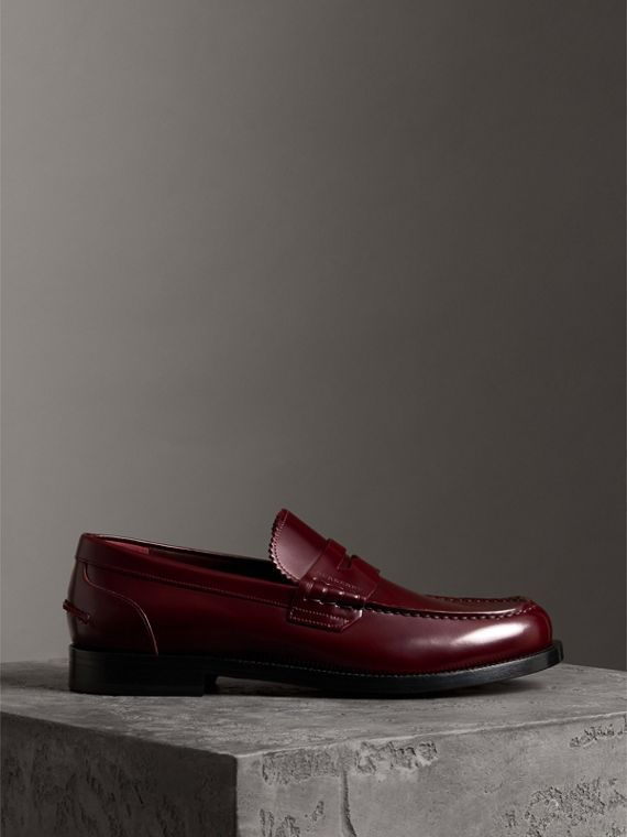 Leather Penny Loafers in Ebony Red