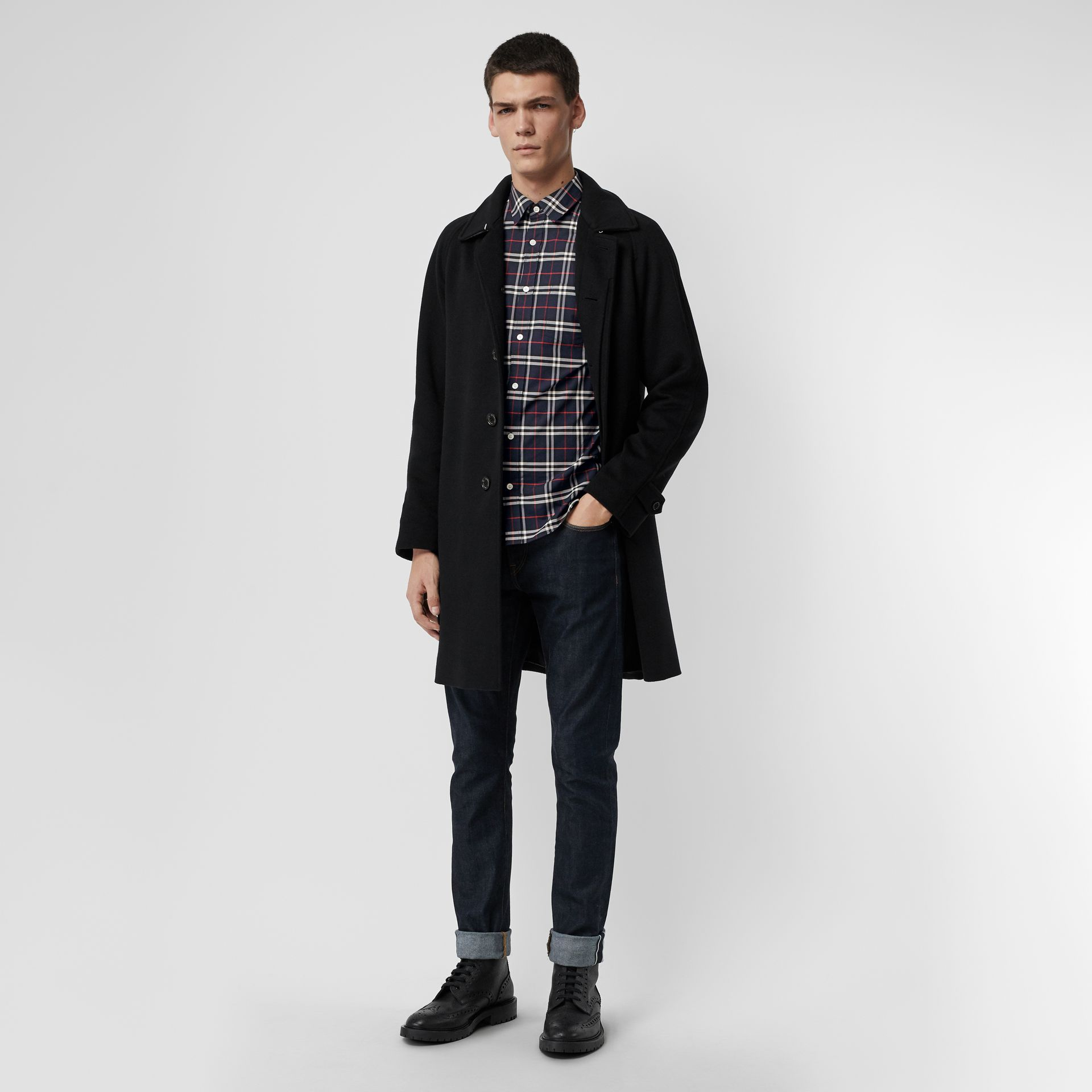 Check Stretch Cotton Shirt in Navy - Men | Burberry Canada - gallery image 4