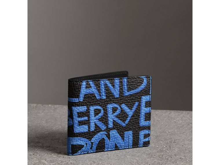 Graffiti Print Leather International Bifold Wallet in Blue/black - Men | Burberry - cell image 4