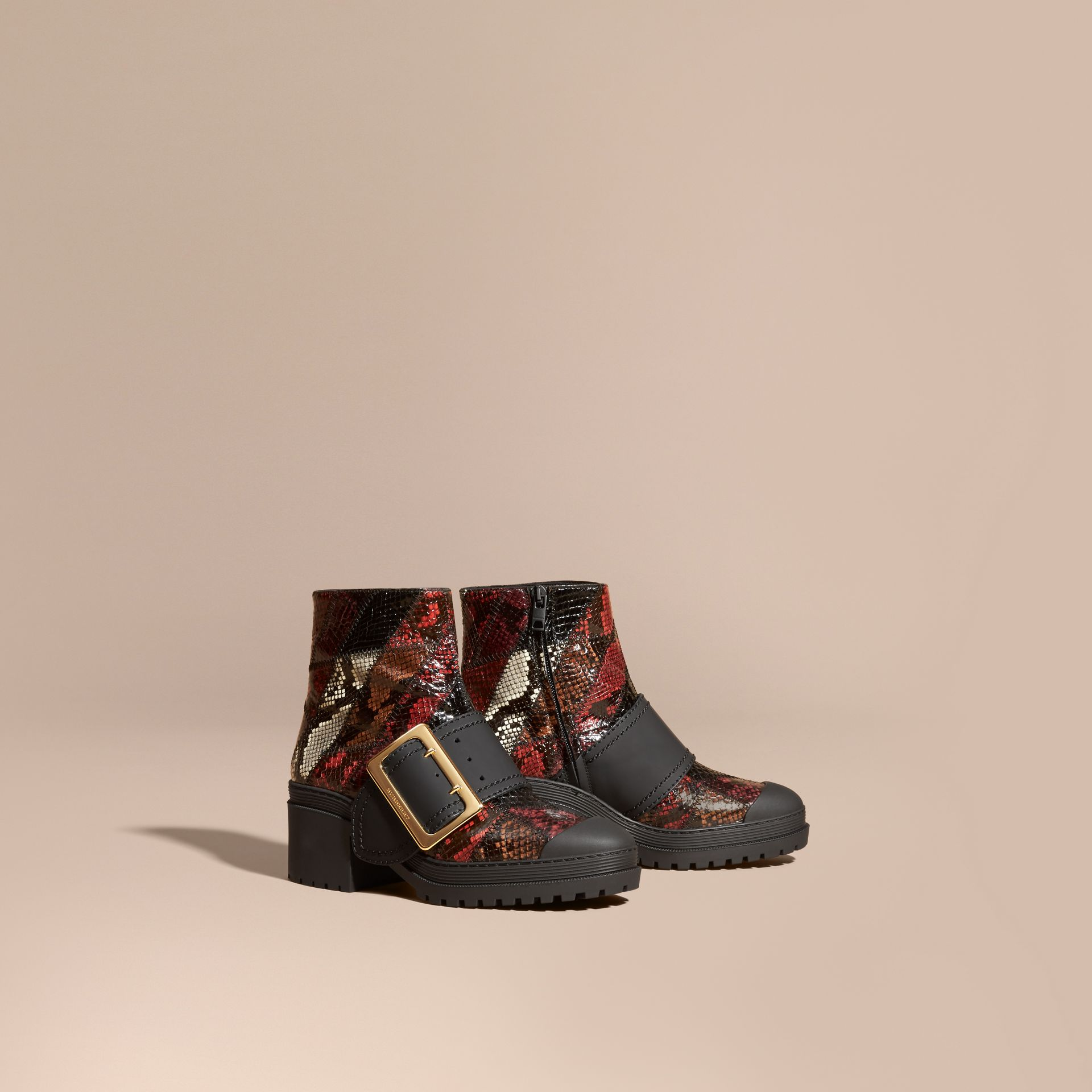 Tan/burgundy red The Buckle Boot in Snakeskin and Rubberised Leather - gallery image 1